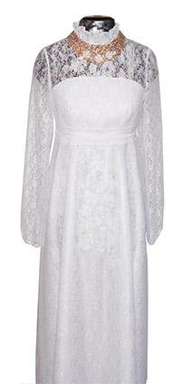 Платье ритуальное женское белое с украшением и фатой
